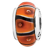 Prerogatives Sterling Orange and Black Glass Bead - J108824