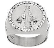 Stainless Steel Crystal Saint Design Ring - J325024