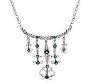 Carolyn Pollack Sterling Silver Frosted Quartz & Blue Topaz Dangle Necklace - J334924