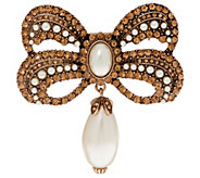 Joan Rivers Victorian Style Crystal Bow Pin with Faux Pearl Drop - J349124