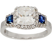 Diamonique and Simulated Sapphire Ring with Halo, Platinum Clad - J351224