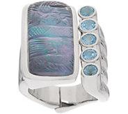 Stephen Dweck Sterling Silver Carved Gemstone Hinged Ring - J356524