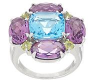 Gemstone Flower Ring, 10.10 cttw, Sterling Silver - J357624