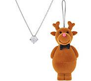 Reindeer Ornament with Diamonique 1 cttw Pendant, Sterling Silver - J358224