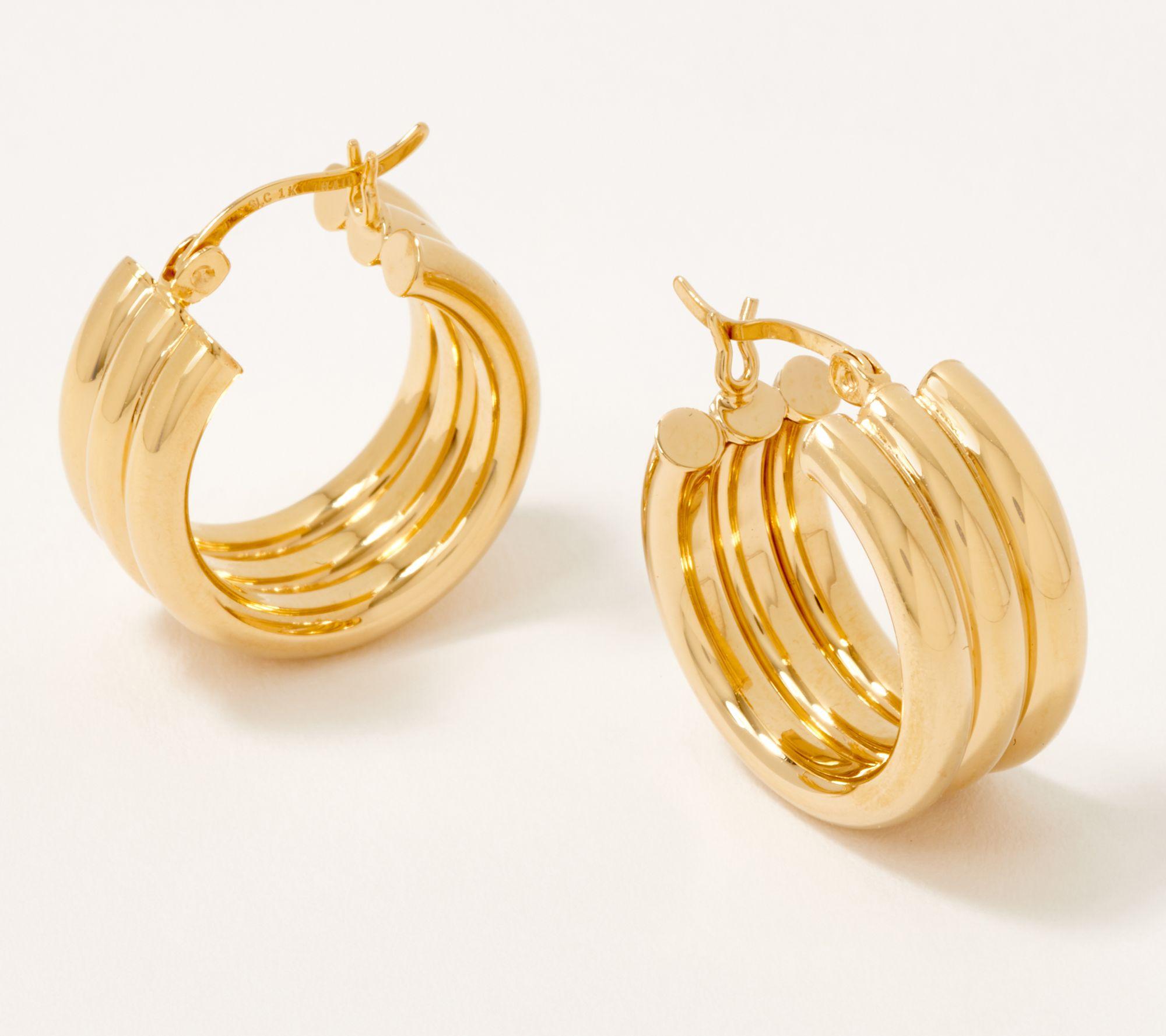 Hoop Earrings TRI COLOR SATIN//HP FINISH RND SHAPE HOOP