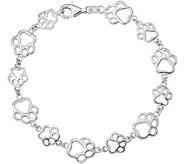 Sterling Paw Print Bracelet by Silver Style - J379824
