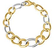 Italian Gold Two-Tone Bold Curb Link Bracelet 14K, 8.1g - J382024