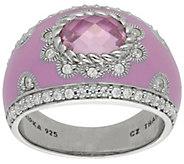 Judith Ripka Sterling Pink Diamonique Enamel Ring - J383224