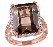 14K 12.45 cttw Quartz and 1.45 cttw Diamond Halo Ring - J392324