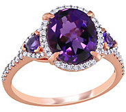 14K Gold 2.60 cttw Amethyst and 1/5 cttw Diamond Cocktail Ring - J392524