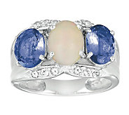 Sterling Ethiopian Opal, White Topaz & Tanzanite Ring - J303425
