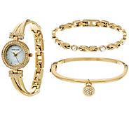 Anne Klein Crystal Bangle Watch and Bracelet Set - J333725