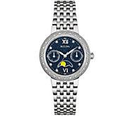 Bulova Diamond Accent Stainless Steel Moon Phase Watch - J343125