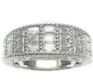 Judith Ripka Sterling & Baguette Diamonique Ring - J344625