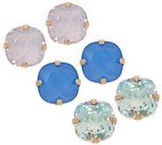 As Is Joan Rivers Set of 3 Clip or Pierced Vintage Style Stud Earrings - J356025