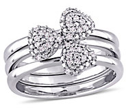 3-pc Diamond Heart Stack Rings, 14K White Gold,by Affinity - J375325