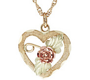 Black Hills Rose Heart Pendant w/ Chain, 10K/12K Gold - J383925