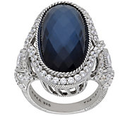 Judith Ripka Sterling Blue Doublet and Diamonique Ring - J384225
