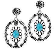 American West Sterling Gemstone Oval Concha Drop Earrings - J384425