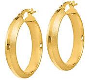 Italian Gold Brushed & Satin Round Hoops, 14K Gold - J385625