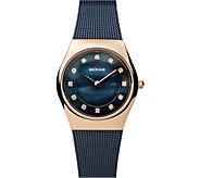 Bering Womens Mother-of-Pearl Mesh Bracelet Watch - J387925