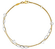 14K Two-Tone Double Strand Hearts & Oval Link Anklet - J389725