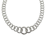 Judith Ripka Sterling Silver 20 Textured LinkNecklace - J312326