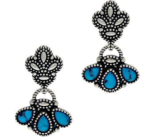 American West Kingman Turquoise SterlingDangle Earrings