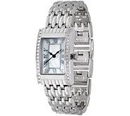 Diamonique Rectangular Watch w/ Bracelet Strap - J349426