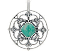 American West Reversible Gemstone Sterling Silver Pendant - J350326