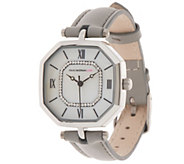 Isaac Mizrahi Live! Leather Strap Octagon Watch - J357226