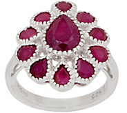Ruby Flower Ring, 3.00 cttw, Sterling Silver - J357626