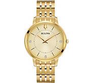 Bulova Womens Goldtone Classic Diamond Watch - J378526