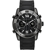 Sean John Mens Black Analog Digital Silicone Watch - J380826