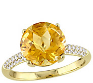 14K Gold 3.30 cttw Citrine and 1/7 cttw DiamondRing - J392326