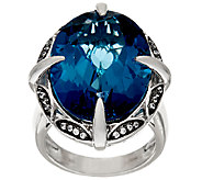 London Blue Topaz & White Zircon Sterling Ring26.00 ct tw - J392426
