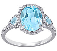14K Gold 4.05 cttw Blue Topaz and 1/5cttw Diamond Ring - J392526