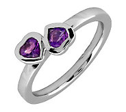 Simply Stacks Sterling & Amethyst Double-HeartRing - J299327