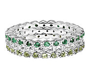 Simply Stacks Sterling Wht Topaz, Emerald, & Peridot Ring Set - J306027