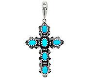 American West Sterling Turquoise Cross Enhancer - J343227