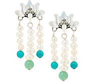 Carolyn Pollack Lotus Flower Sterling Silver Pearl Earrings - J355127