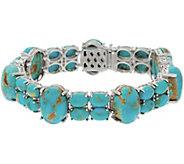 6-3/4 Kingman Turquoise Tennis Bracelet Sterling Silver - J355827