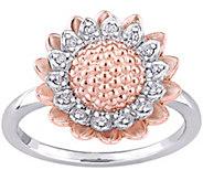 Laura Ashley Sterling 1/10 cttw Diamond FlowerRing - J376127