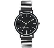 Nine West Womens Black & White Striped Watch - J384327