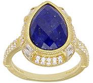 Judith Ripka 14K Clad Pear-Shaped Lapis and Diamonique Ring - J384627