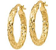 Italian Gold Diamond-Cut Twisted Hoop Earrings,14K Gold - J385627