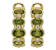 Judith Ripka 14K Clad Peridot J-Hoop Earrings - J389227