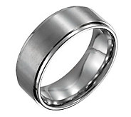 Forza Mens 8mm Steel w/ Ridged Edge SatinPolished Ring - J109528