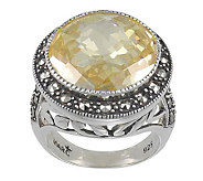 Suspicion Sterling Marcasite & Simulated Canary Diamond Ring - J308528