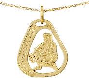 Polished & Textured Zodiac Pendant w/ 18 Chain, 14K Gold - J313628